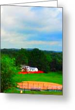 Right Field And Green Meadows Greeting Card
