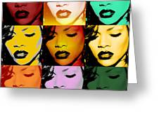 Rihanna Warhol By Gbs Greeting Card by Anibal Diaz
