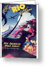 Rio, Brazil, Pan American Airways, Dancing Woman Greeting Card