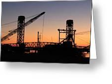 Rio Vista Bridge And Barges Greeting Card
