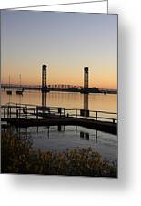 Rio Vista Bridge And Sail Boats Greeting Card
