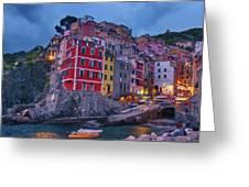 Riomaggiore In Cinque Terre Italy Painterly Greeting Card