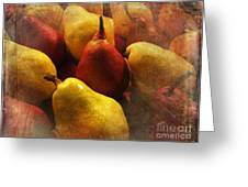 Ripe Pears And Two Persimmons Greeting Card