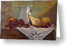 Ripening Pears With Grapes Greeting Card