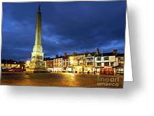 Ripon Market Place At Dusk Greeting Card