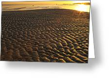 Ripples In The Sand Low Tide Golden Sunset Greeting Card