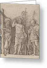 Risen Christ Between Saints Andrew And Longinus Greeting Card