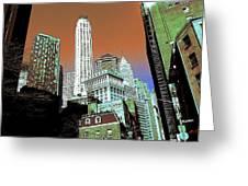 Rising High - New York Wall Street Skyline Greeting Card