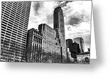 Rising In Manhattan Mono Greeting Card by John Rizzuto