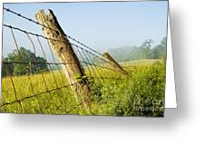 Rising Mist With Falling Fence Greeting Card