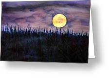 Rising Moon Of Alaska Greeting Card