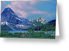 Rising Wolf Mountain And Two Medicine Lake Greeting Card