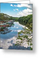 River Boats Docked Greeting Card