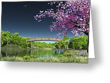 River Bridge Cherry Tree Blosson Greeting Card