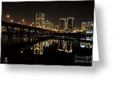 River City Lights At Night Greeting Card