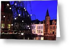 River Dijver, Rozenhoedkaai Area At Night, Bruges City Greeting Card