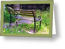 River Fishing Bench Greeting Card