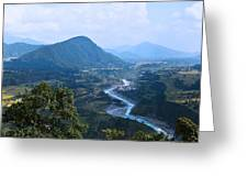 River  Flowing From Mountain Greeting Card