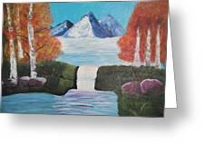 River Flowing Through Mountains Greeting Card