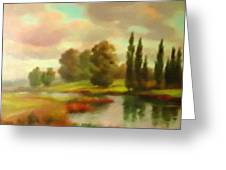 River Flowing Through The Landscape H B Greeting Card