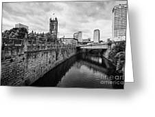 river irwell flowing between manchester on the left and salford on the right Manchester uk Greeting Card