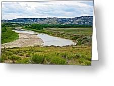 River Landscape In Northwest North Dakota  Greeting Card