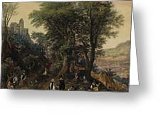 River Landscape In The Spring With Castle And Noblemen Greeting Card