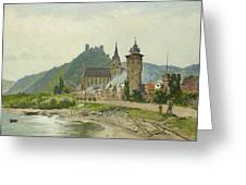 River Landscape Of The Rhine Greeting Card