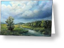 River Landscape Spring After The Rain Greeting Card