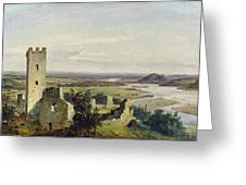 River Landscape With Castle Ruins Greeting Card