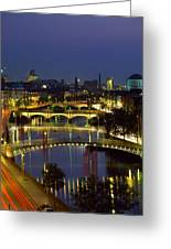 River Liffey Bridges, Dublin, Ireland Greeting Card