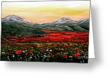 River Of Poppies Greeting Card