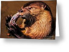 River Otter With His Catch Of The Day Greeting Card