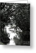 River Passage In Black And White Greeting Card