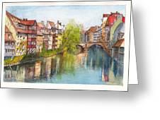 River Pegnitz In Nuremberg Old Town Germany Greeting Card