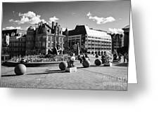 river sculpture in Victoria Square Birmingham city centre UK Greeting Card