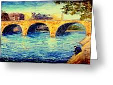River Seine Bridge Greeting Card