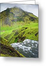 River Skoga And Green Nature In Iceland Greeting Card