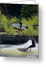River Surfers Snake River Greeting Card