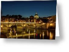 River Tiber And Vatican At Night Greeting Card