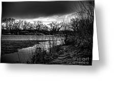 River With Dark Cloud In Black And White Greeting Card
