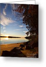 Riverbank Sunset Greeting Card