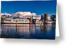 Riverboats Of Sacramento Greeting Card