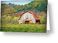 Riverbottom Barn In Fall Greeting Card by Cricket Hackmann