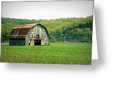 Riverbottom Barn In Spring Greeting Card