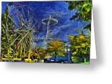 Riverfront Park - Pavilion And Ferris Wheel Greeting Card