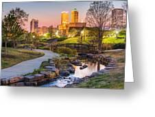 Riverwalk To The Tulsa Oklahoma Skyline  Greeting Card by Gregory Ballos