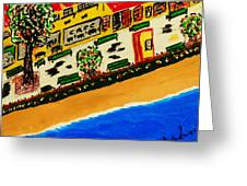 Riviera Beach Cafe Greeting Card by Adolfo hector Penas alvarado