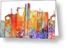 Riyadh Landmarks Watercolor Poster Greeting Card