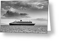 Rms Queen Mary 2 Mono Greeting Card